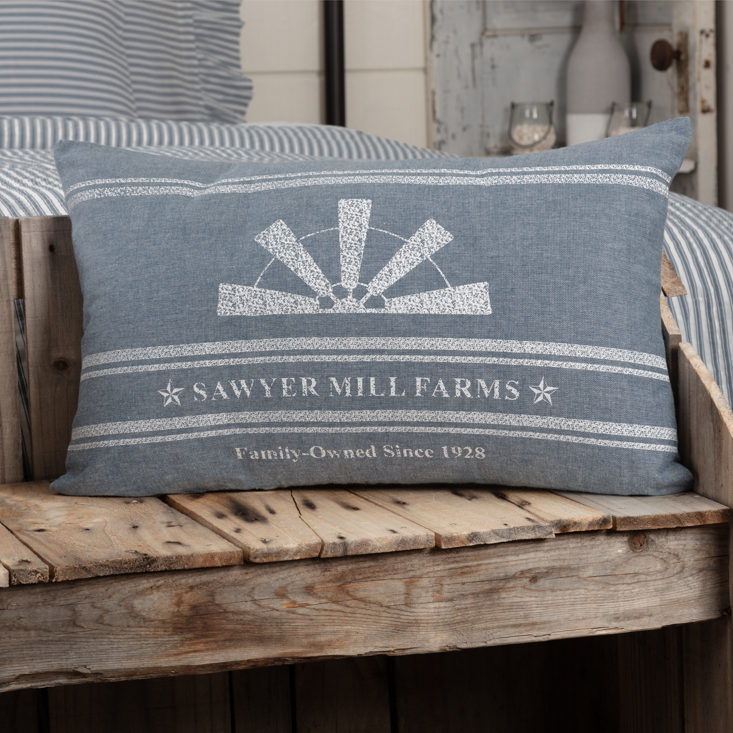 Sawyer Mill Blue Windmill Blade Pillow 14x22