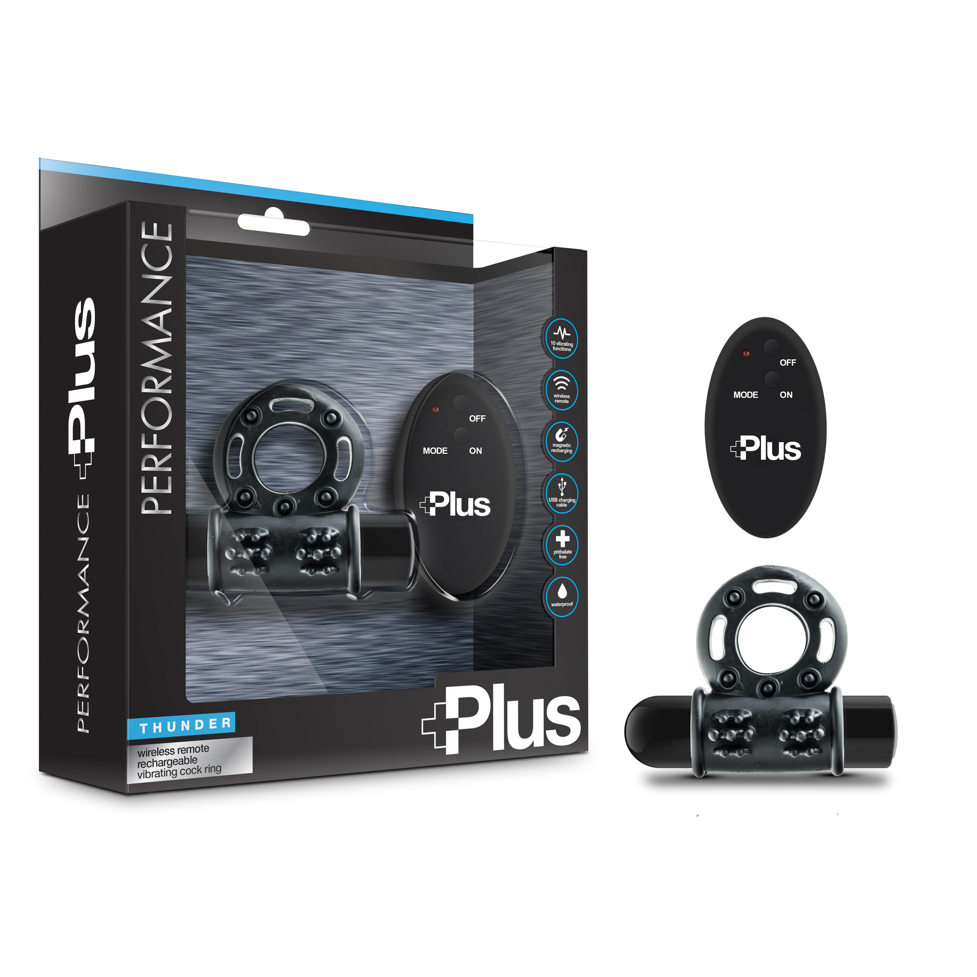 Performance Plus - Thunder - Wireless Remote Rechargeable Vibrating Cock Ring - black