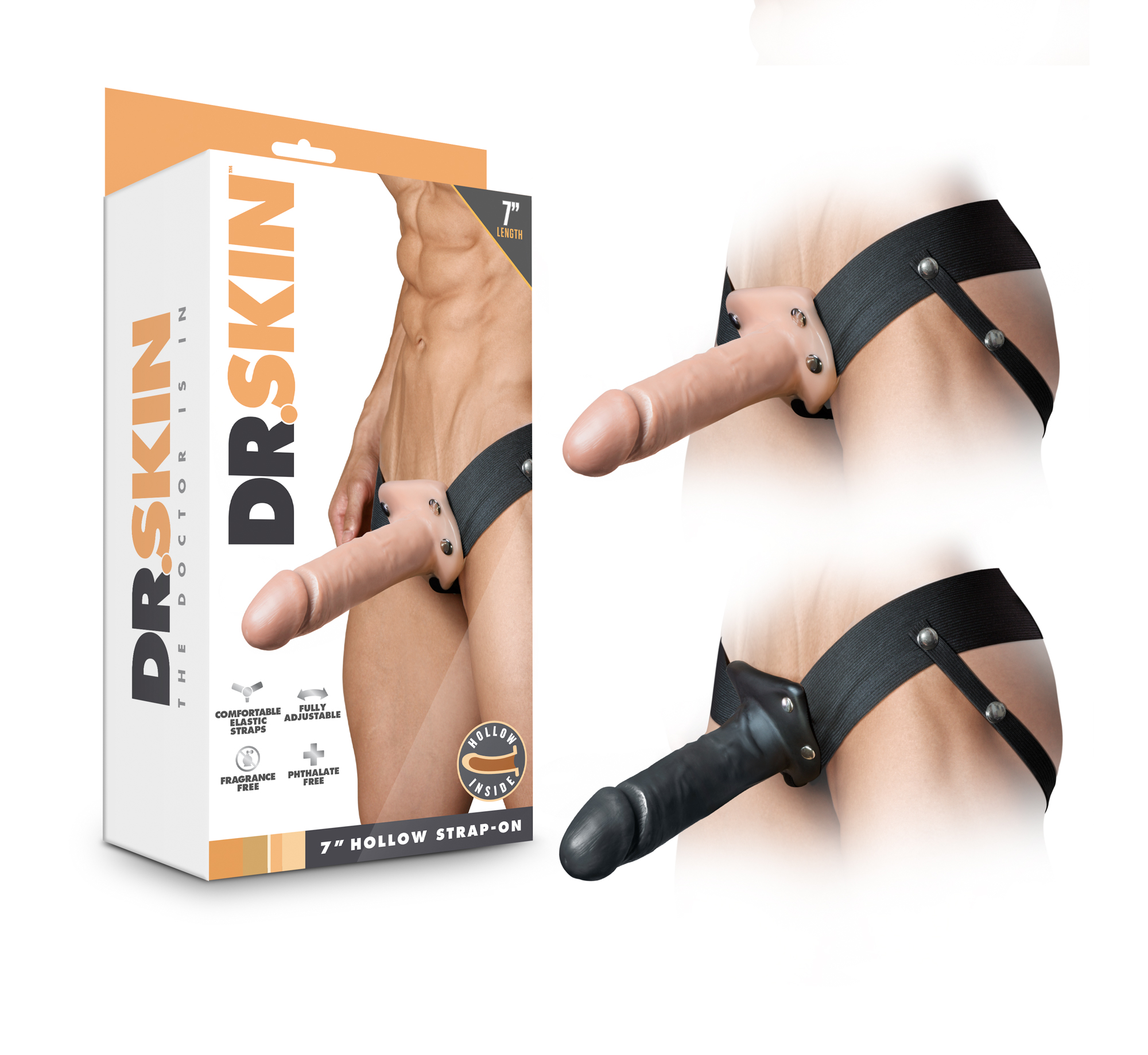 Dr. Skin - 7 Inch Hollow Strap On - Vanilla