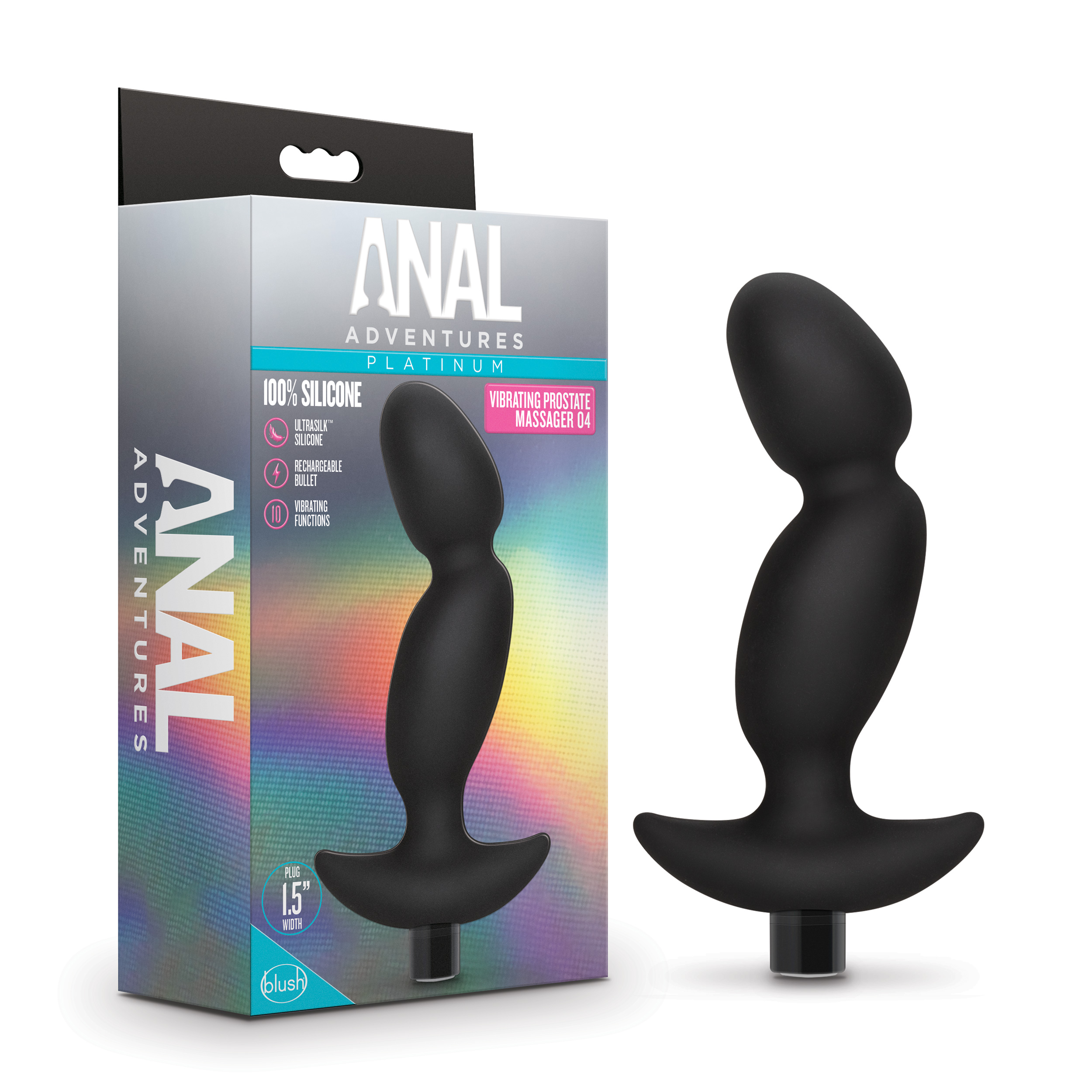 Anal Adventures Platinum - Silicone Vibrating Prostate Massager 04 -Black