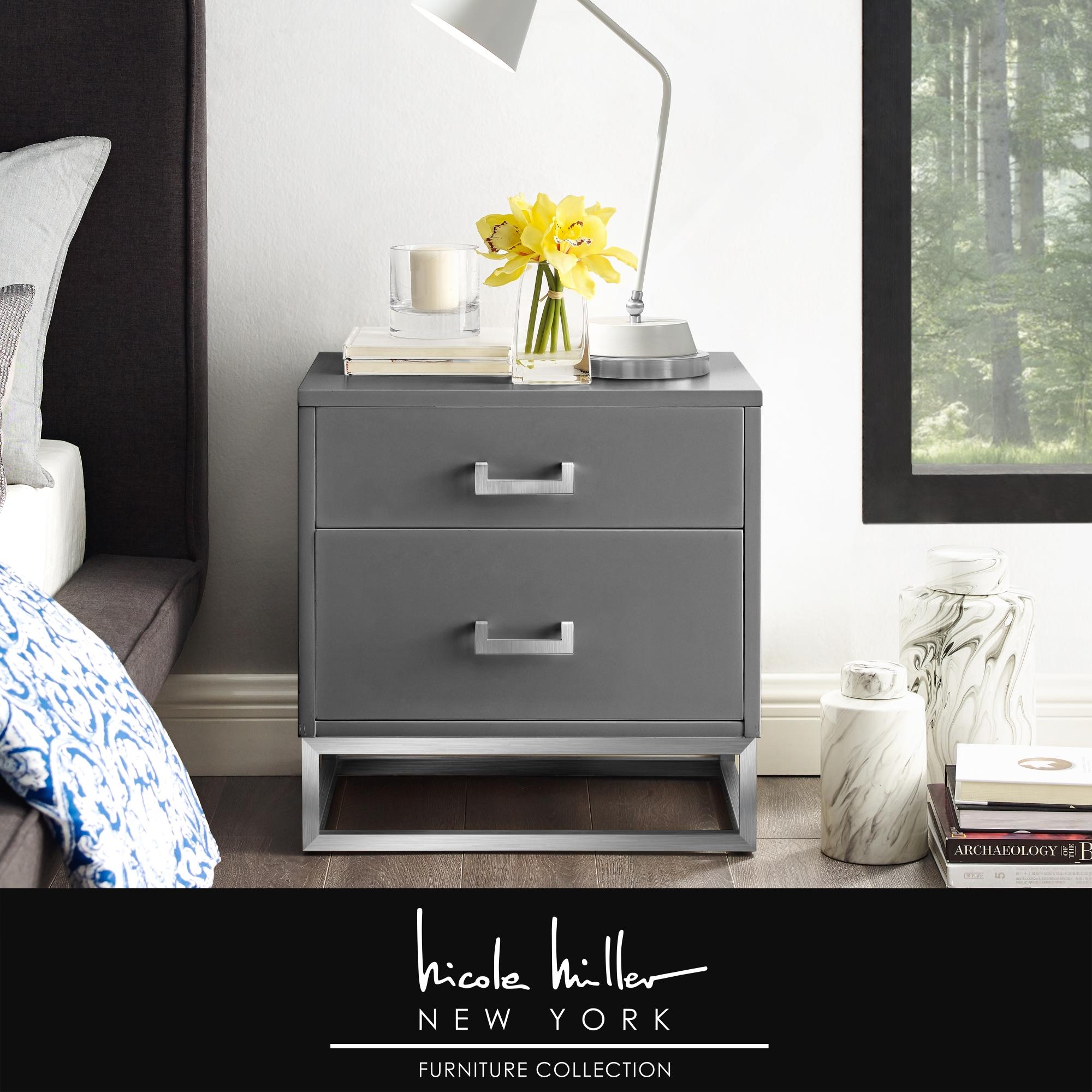 Nicole Miller Dark Grey/Chrome Sidetable 2 Drawers Glossy Handle