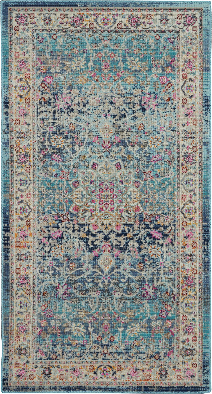 Nourison Vintage Kashan 2' X 4' Blue Multicolor Oushak Area Rug
