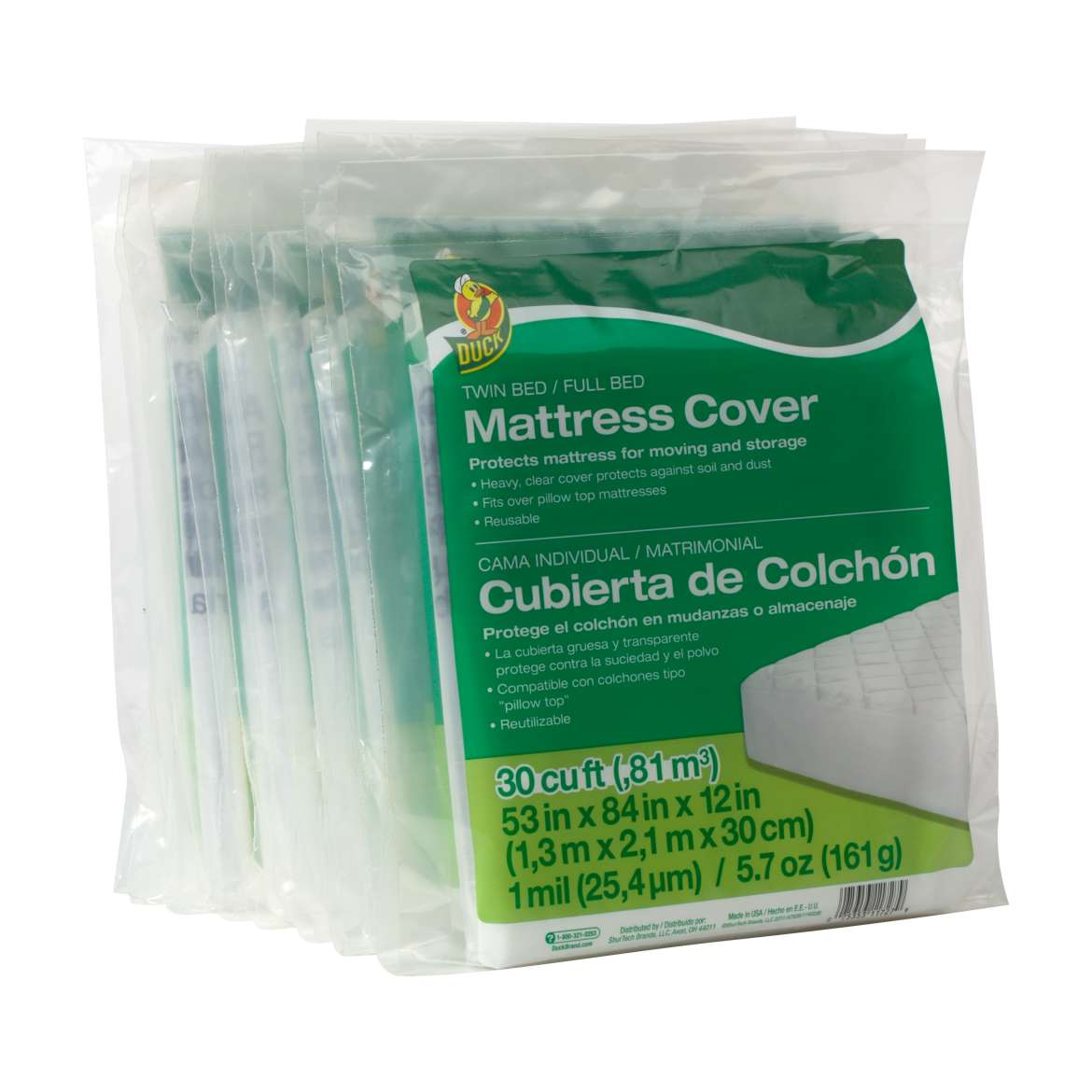 Duck® Brand Twin/Full Mattress Cover - Clear, 53 in. x 84 in. x 12 in. Image