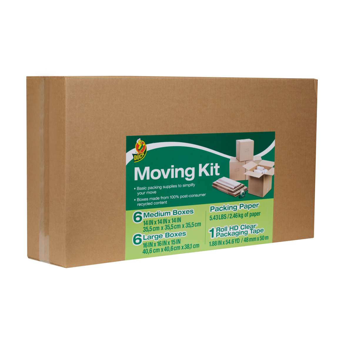 Duck® Brand Moving Kit - Includes Packing Paper, Boxes and Packing Tape Image
