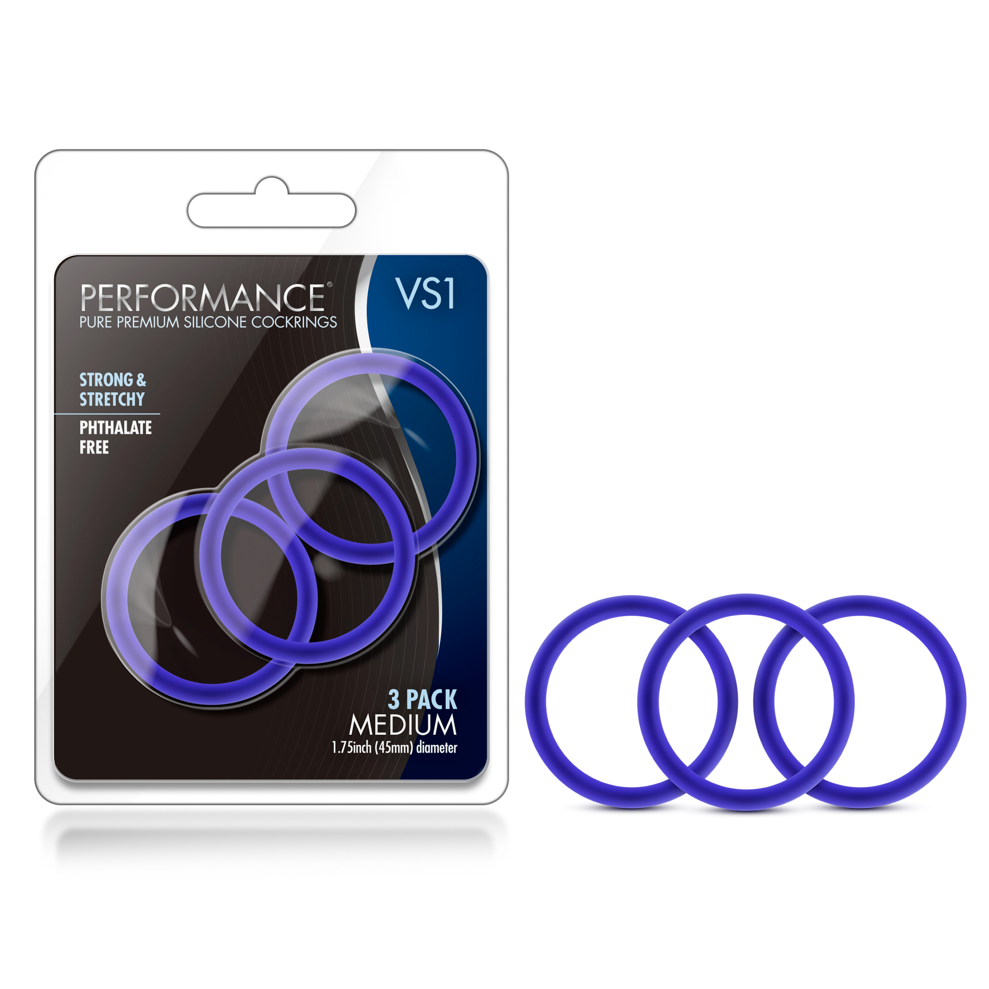 Performance - VS1 Pure Premium Silicone Cockrings - Medium - Indigo