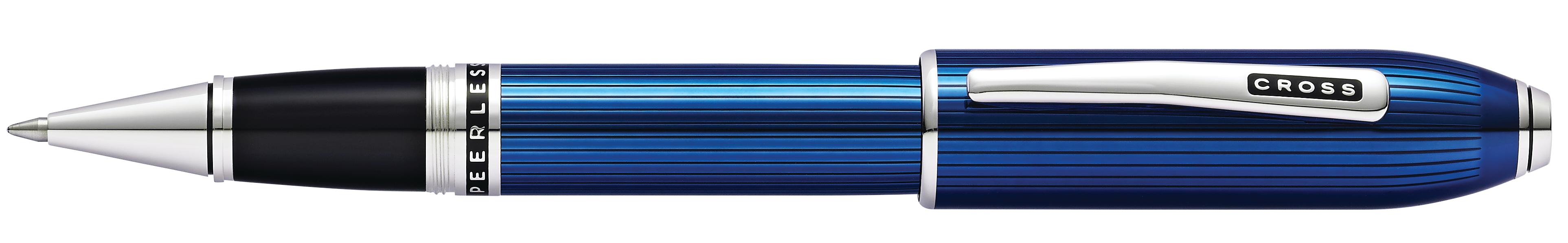 Peerless Translucent Quartz Blue Engraved Lacquer Rollerball Pen