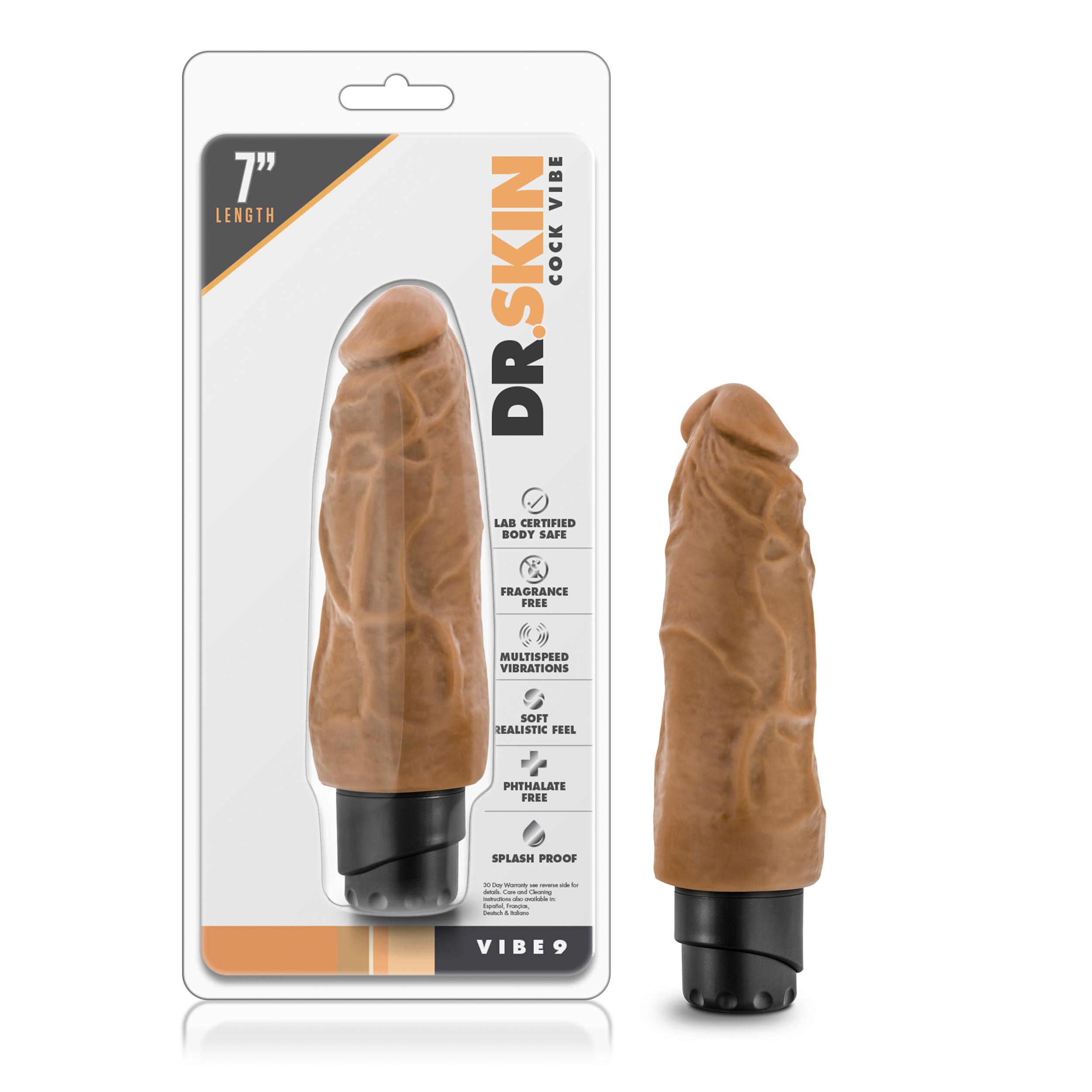 Dr. Skin - Cock Vibe 9 - 7.5 inch vibrating cock - Mocha
