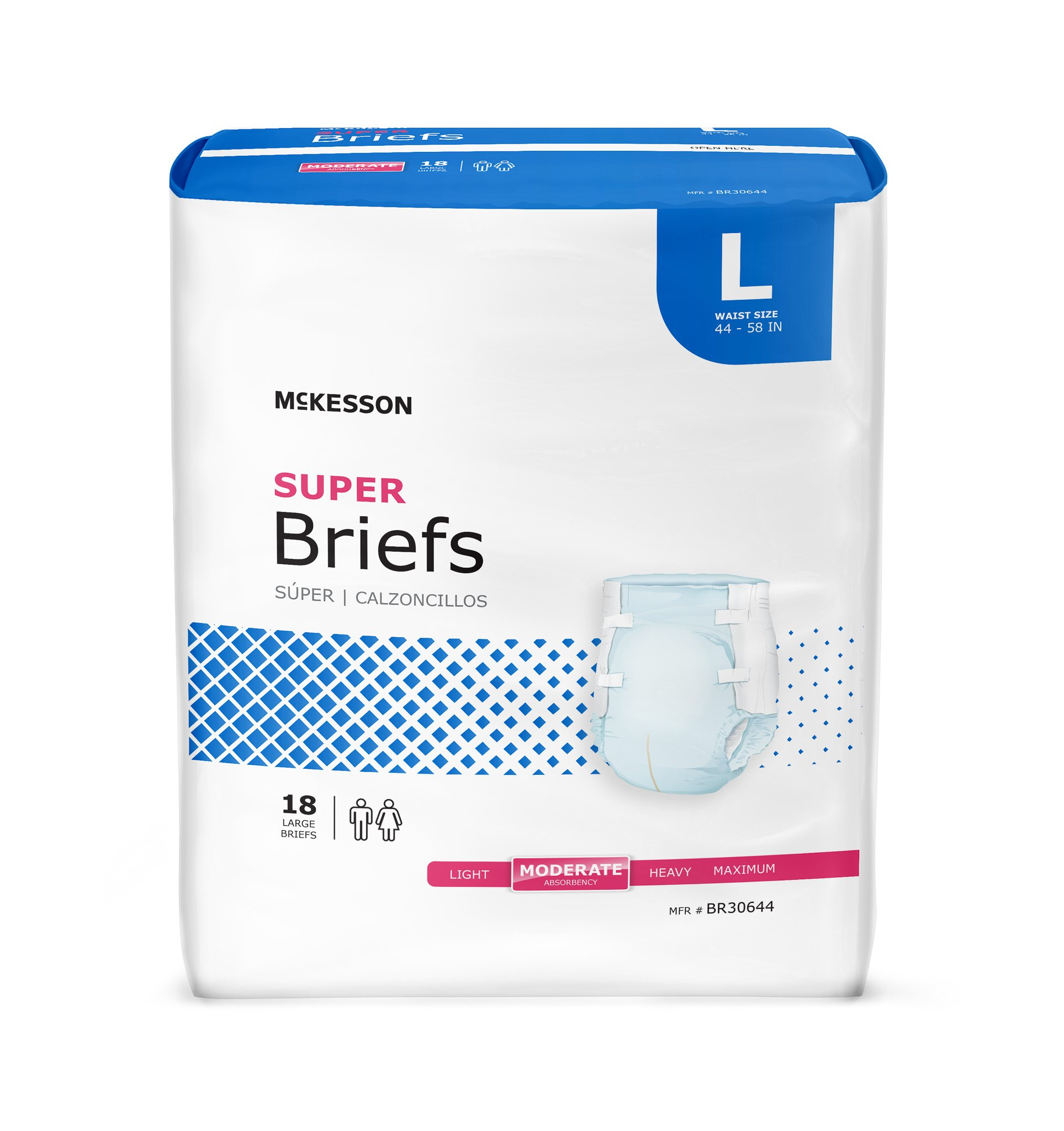 McKesson Adult Brief Refastenable Tabs Large Disposable Moderate Absorbency, BR30644 - Pack of 18