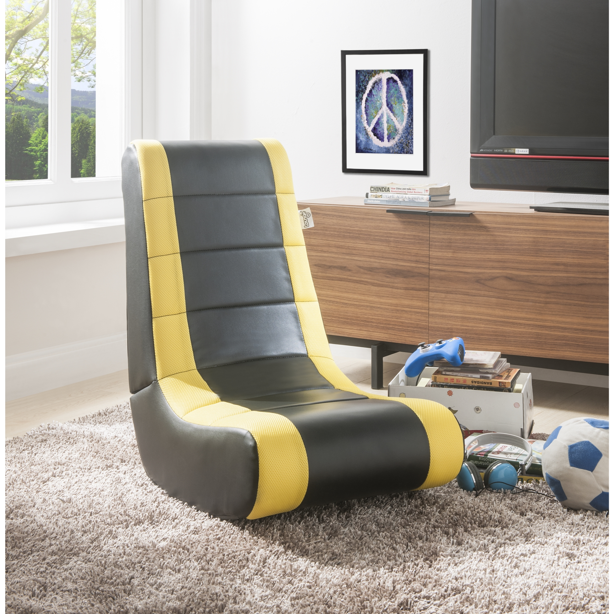 Loungie Black/Yellow PU Leather Chair For Kids, Teens, Adults, Boys Or Girls