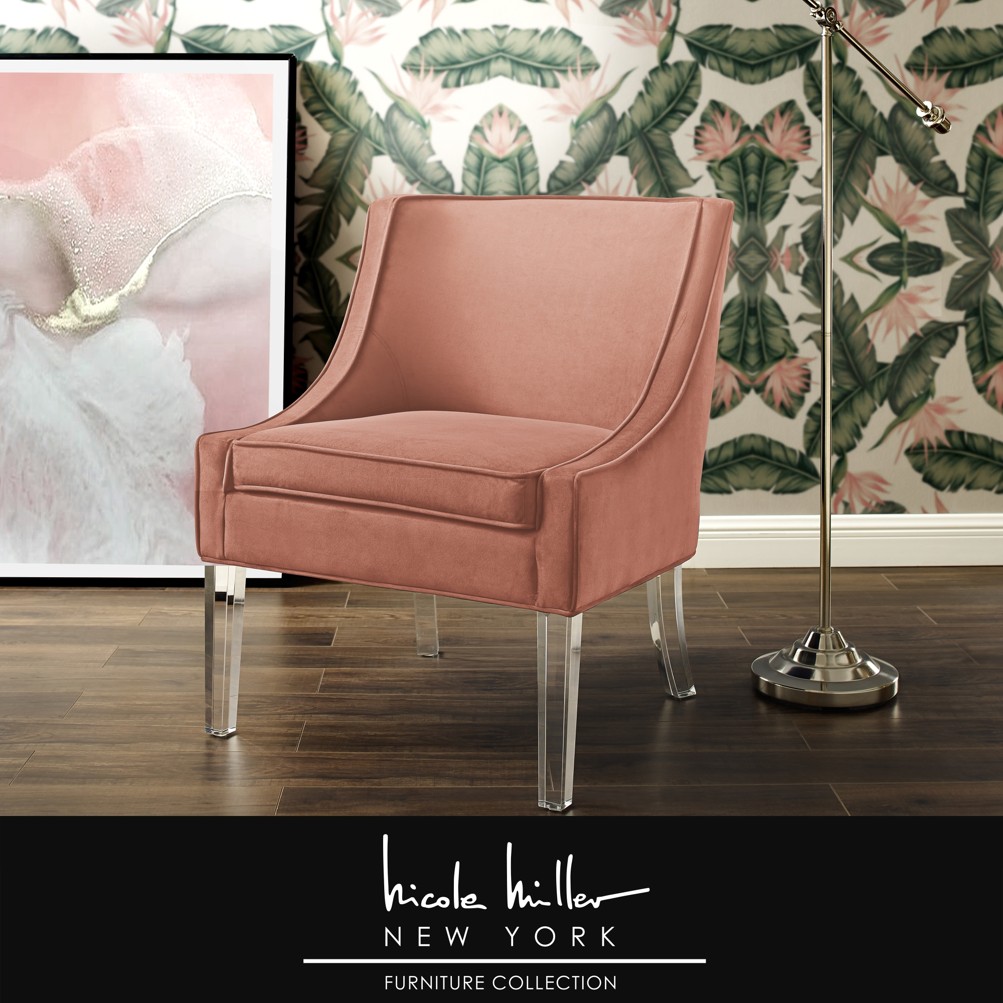 Nicole Miller Blush Velvet Accent Chair Upholstered Armless Clear Acrylic Leg