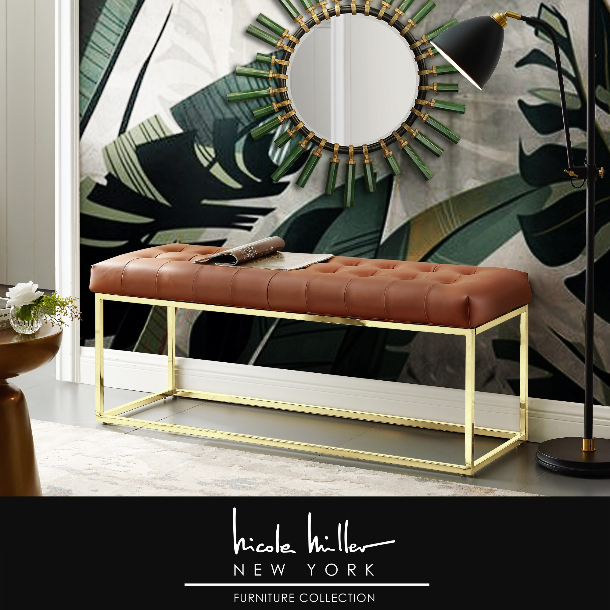 Nicole Miller Camel Brown/Gold PU Leather Bench Upholstered Button Tufted