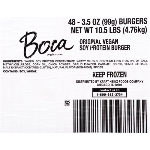 BOCA Original Vegan Burger, 3.5 oz. Patty (Pack of 48)