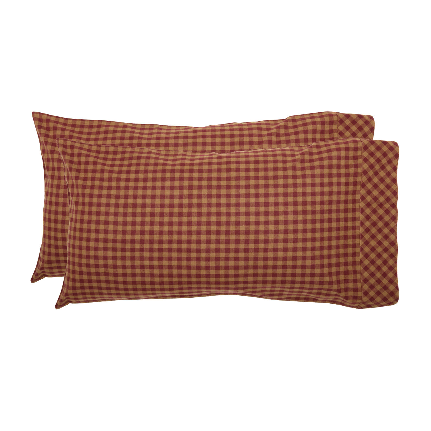 Burgundy Check King Pillow Case Set of 2 21x40