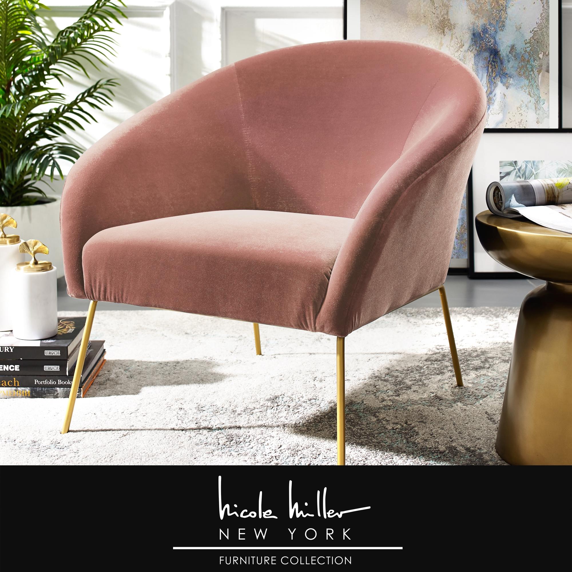 Nicole Miller Blush/Gold Velvet Accent Chair Armless Gold Matte Base
