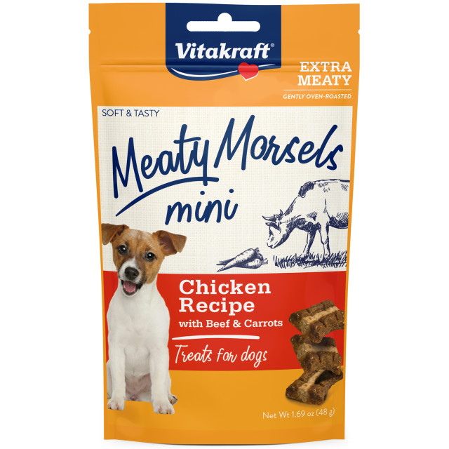 Product-Image showing Meaty Morsels Mini Chicken Recipe with Beef & Carrots