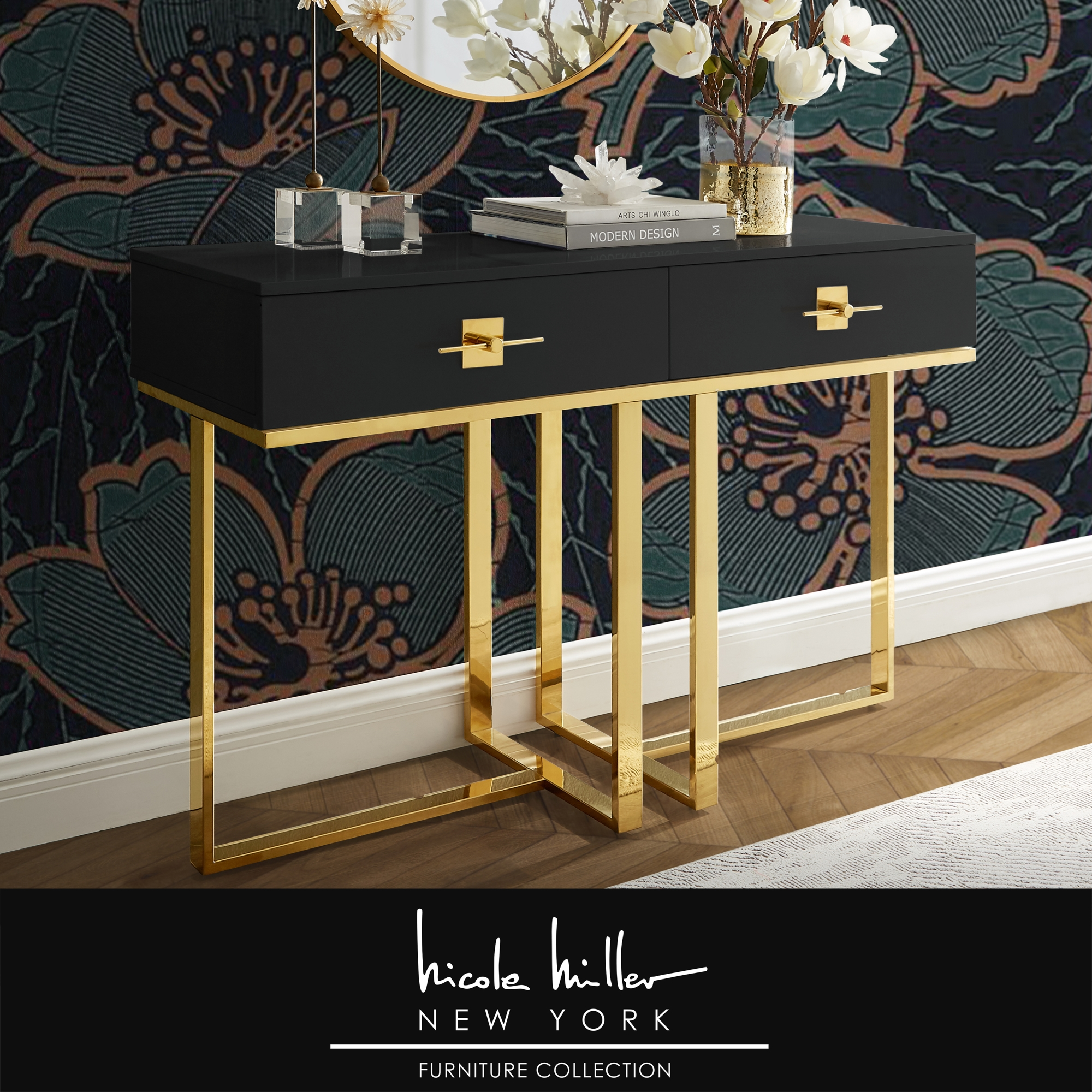 Nicole Miller Black/Gold Console Table 2 Drawers Hight Gloss Lacquer Finish