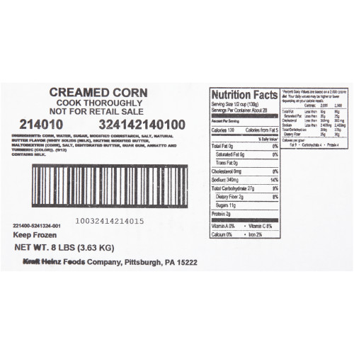 QUALITY CHEF Cream Style Corn, 8 lb. Frozen Bag (Pack of 6)
