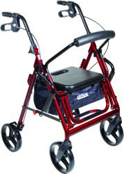 4 Wheel Rollator Duet Burgundy Folding Aluminum Frame 37 Inch, Drive 795BU - EACH