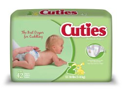 Cuties Baby Diaper, Tab Closure Size 2 Disposable Heavy Absorbency, CR2001 - Case of 168