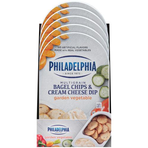 PHILADELPHIA Bagel Chips & Garden Vegetable Cream Cheese Dip, 2.5 oz. Tray (Pack of 10)