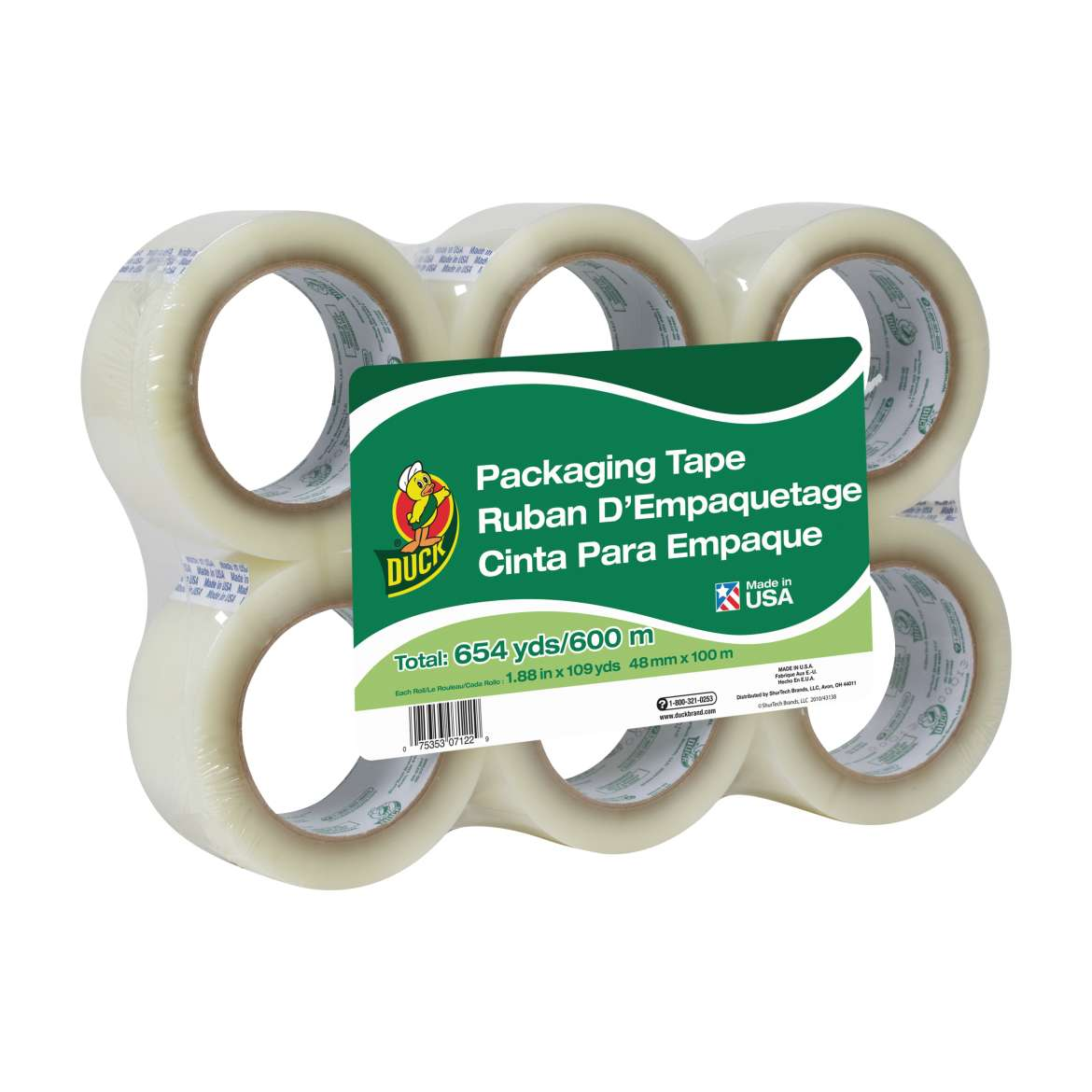 Duck® Brand Standard Packaging Tape - Clear, 6 pk, 1.88 in. x 109 yd. Image