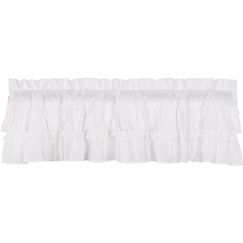 Muslin Ruffled Bleached White Valance 16x60