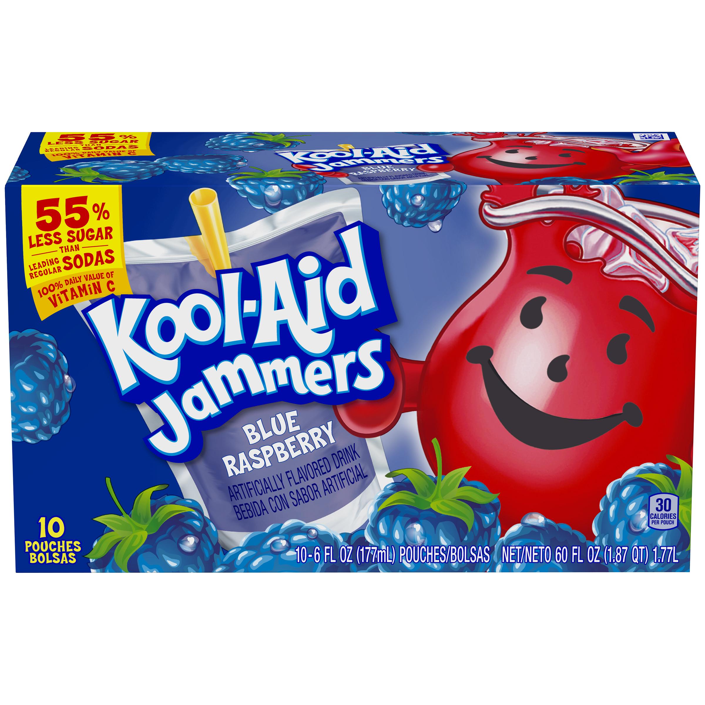 Kool-Aid Jammers Blue Raspberry Flavored Drink 60 fl oz Box (10-6 fl oz Pouches) image