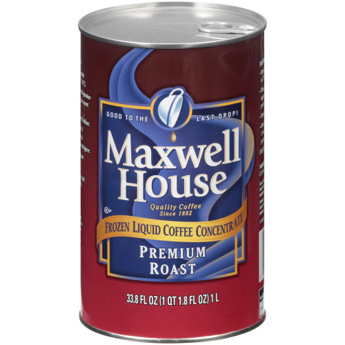 MAXWELL HOUSE Premium Roast Frozen Liquid Coffee, 1 L. Can, (Pack of 4)