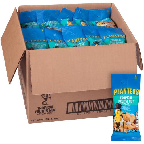 Planters Tropical Fruit & Nut Trail Mix Roasted Peanuts, Banana Chips, Raisins, Yogurt Raisins, Pineapple Cashews, 72 ct Casepack, 2 oz Packs