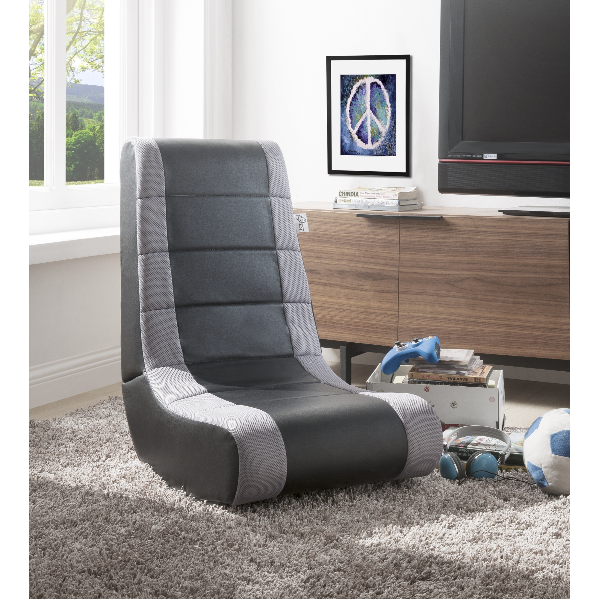 Loungie Black/Silver PU Leather Chair For Kids, Teens, Adults, Boys Or Girls