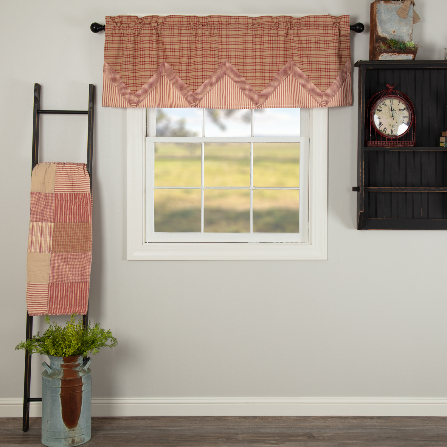 Sawyer Mill Red Valance Layered 20x60