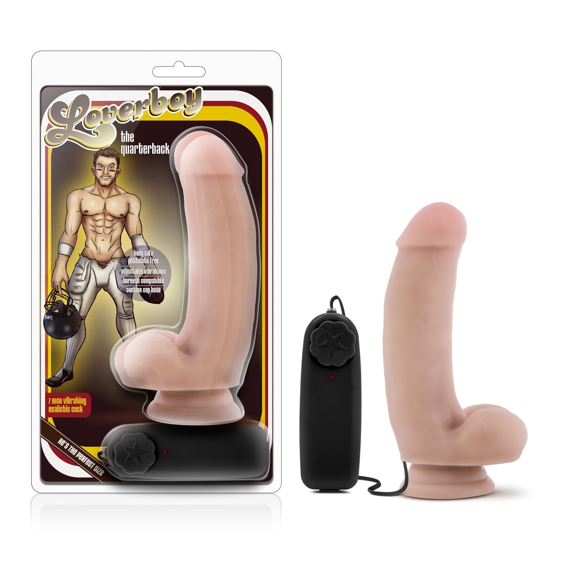 Loverboy - The Quarterback - 7 inch Vibrating Realistic Cock - Vanilla