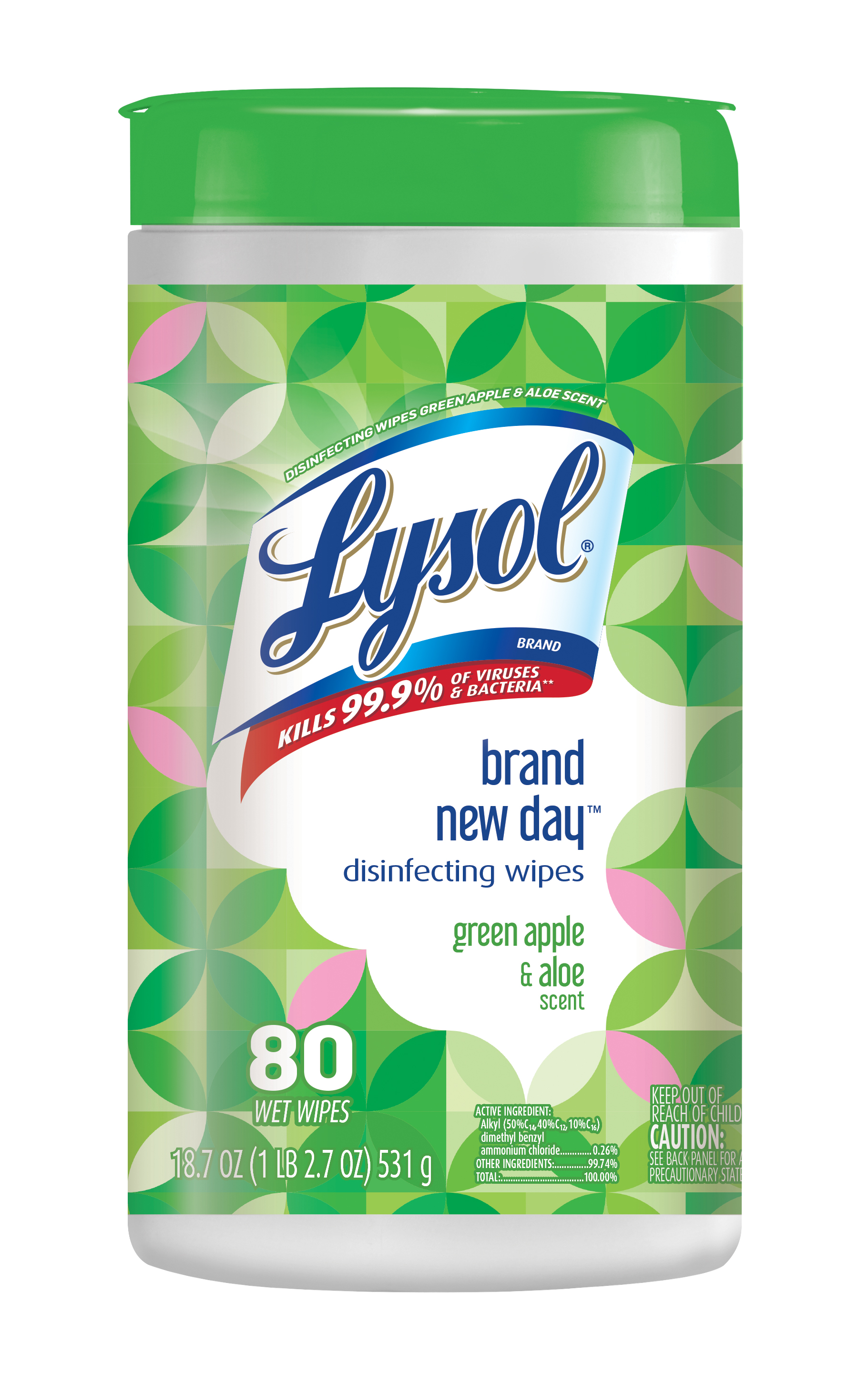 Lysol Disinfecting Wipes, Green Apple & Aloe, 80ct, Brand New Day