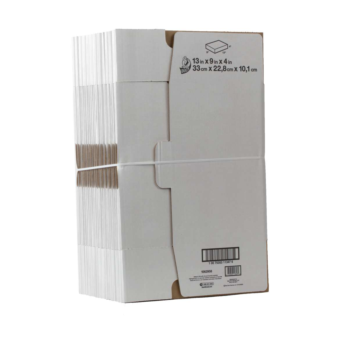 Duck® Brand Self-Locking Mailing Box - White, 25 pk, 13 in. x 9 in. x 4 in. Image