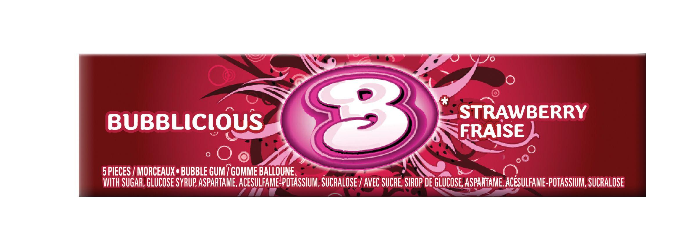 Bubblicious Strawberry Gum 5 Count