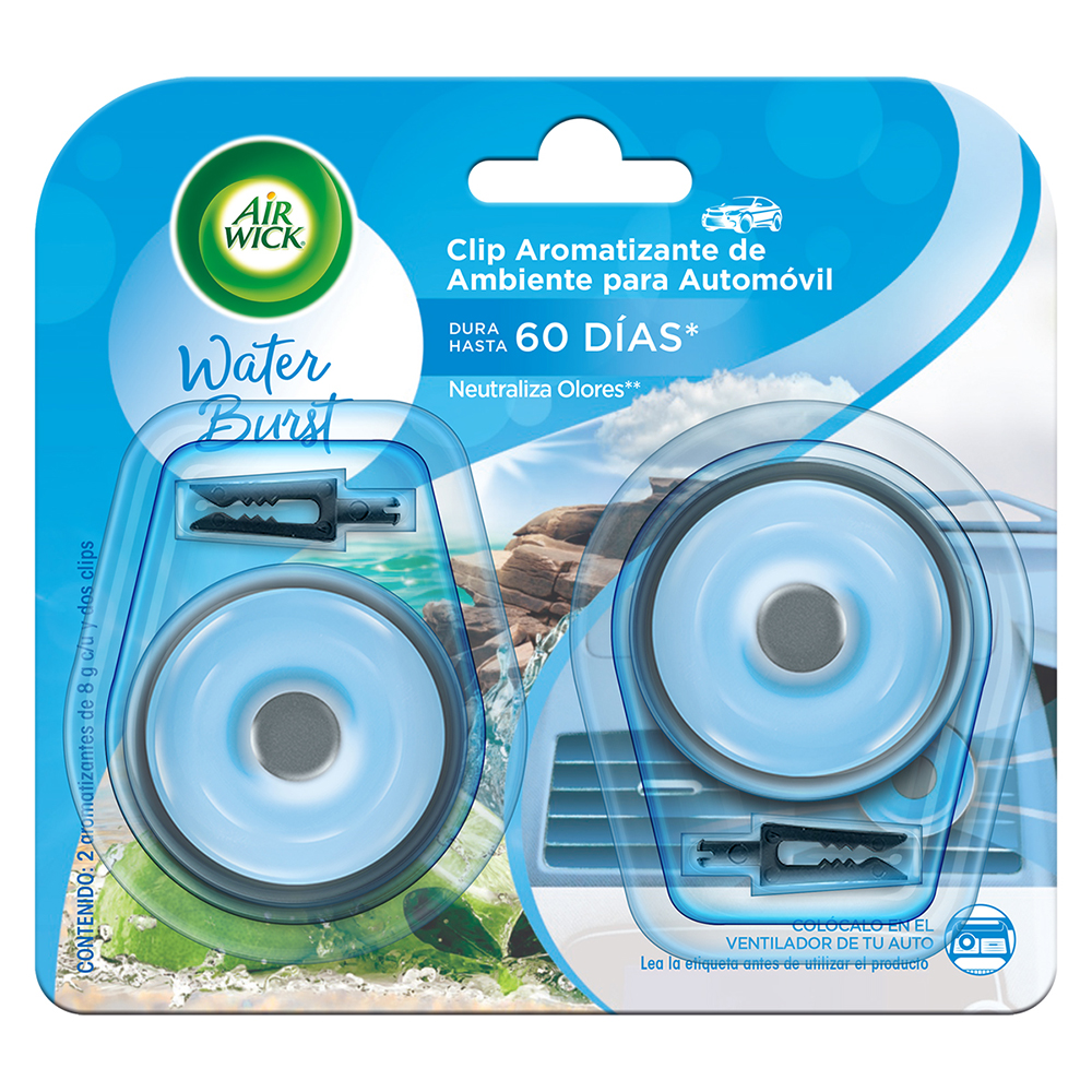 AIR WICK ®  CLIP AROMATIZANTE DE AMBIENTE PARA AUTOMÓVIL; WATER BURST; 2 AROMATIZANTES DE 8 g C/U.