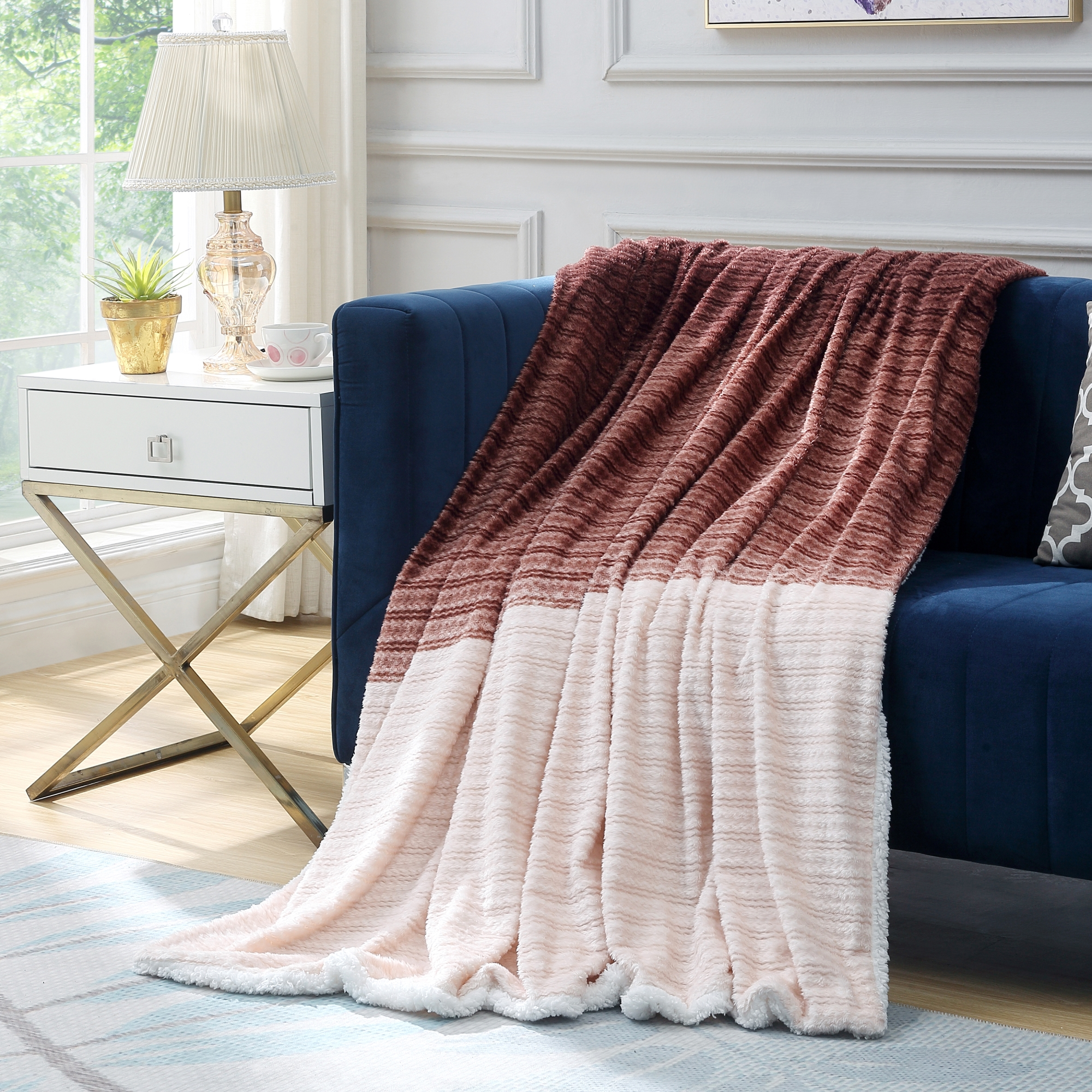Cozy Tyme Brown 100% Polyester Throw Super Soft Cozy