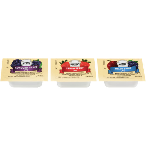 HEINZ Single Serve Assorted Jelly/Jam Selection, 0.5 oz. Cup (Pack of 200)
