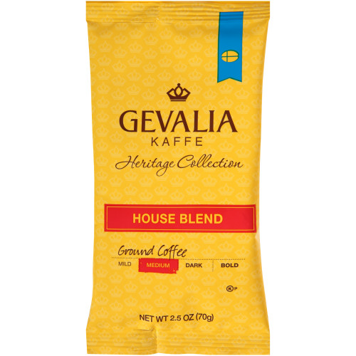 GEVALIA House Blend Roast & Ground Coffee, 2.5 oz. Bag (Pack of 24)