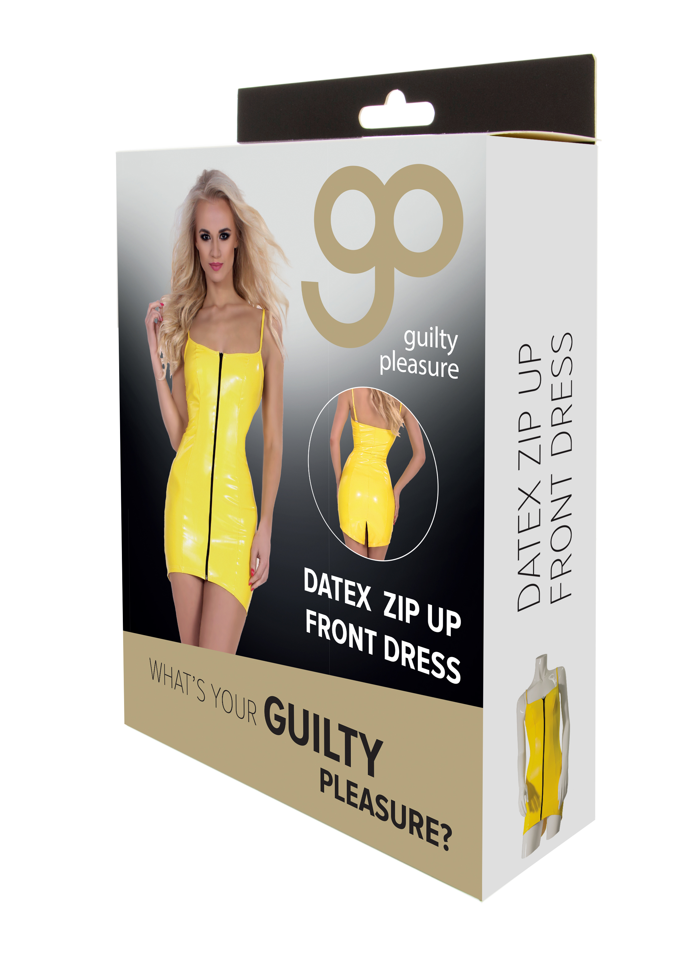 Guilty Pleasure - Datex Zip Up Front Dress - L - Yellow