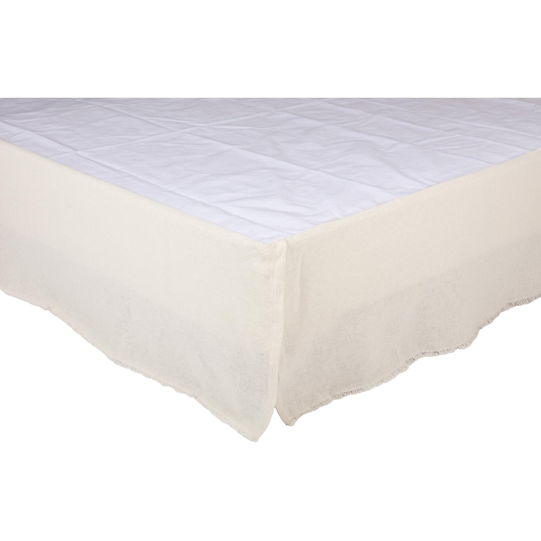 Burlap Antique White Fringed King Bed Skirt 78x80x16