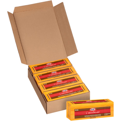 KRAFT ChedaSharp Sliced Cheddar Cheese (135 Slices), 5 lb. (Pack of 4)