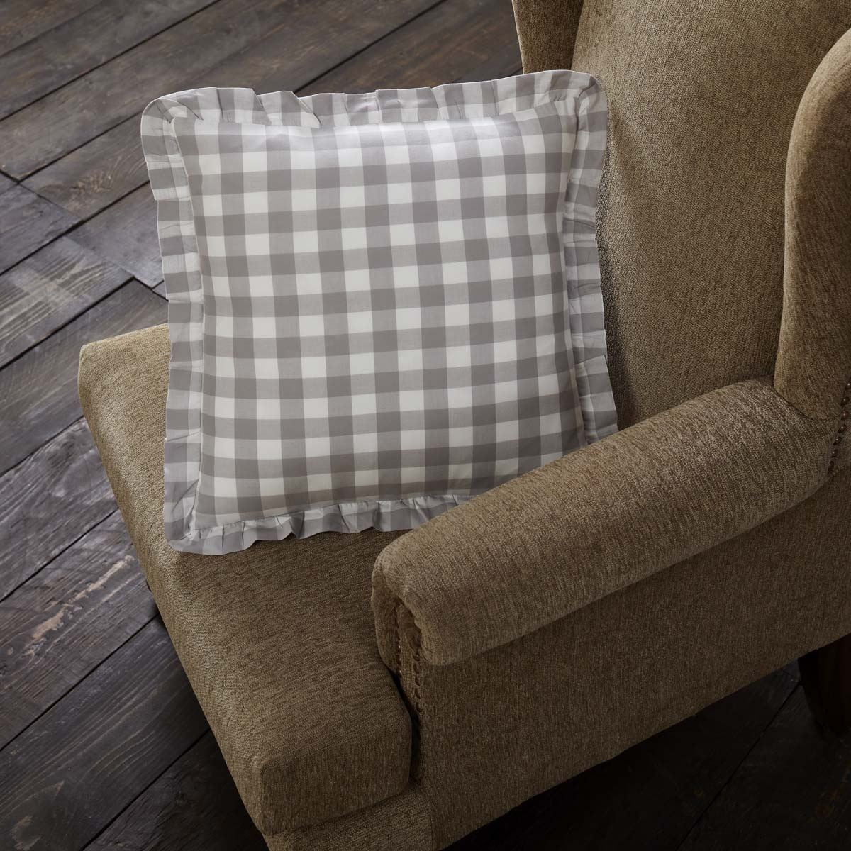 Annie Buffalo Grey Check Ruffled Fabric Pillow 18x18