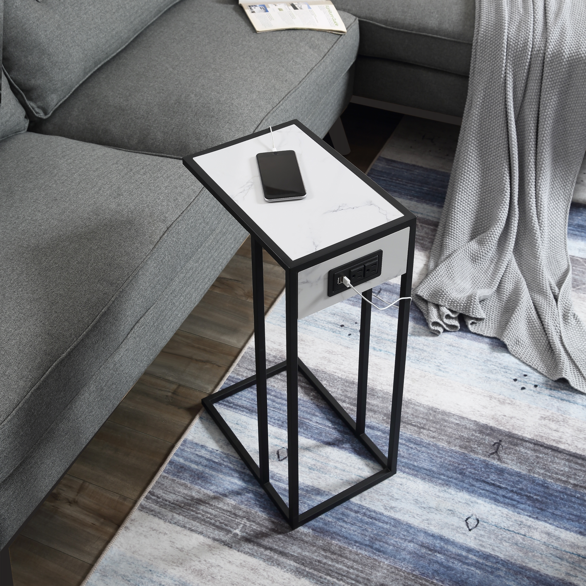 Loft Lyfe White/Black End Table 2 USB Charging Ports, 2 Outlets, Power Plug MDF with Faux Marble Veneer Top, Metal Base