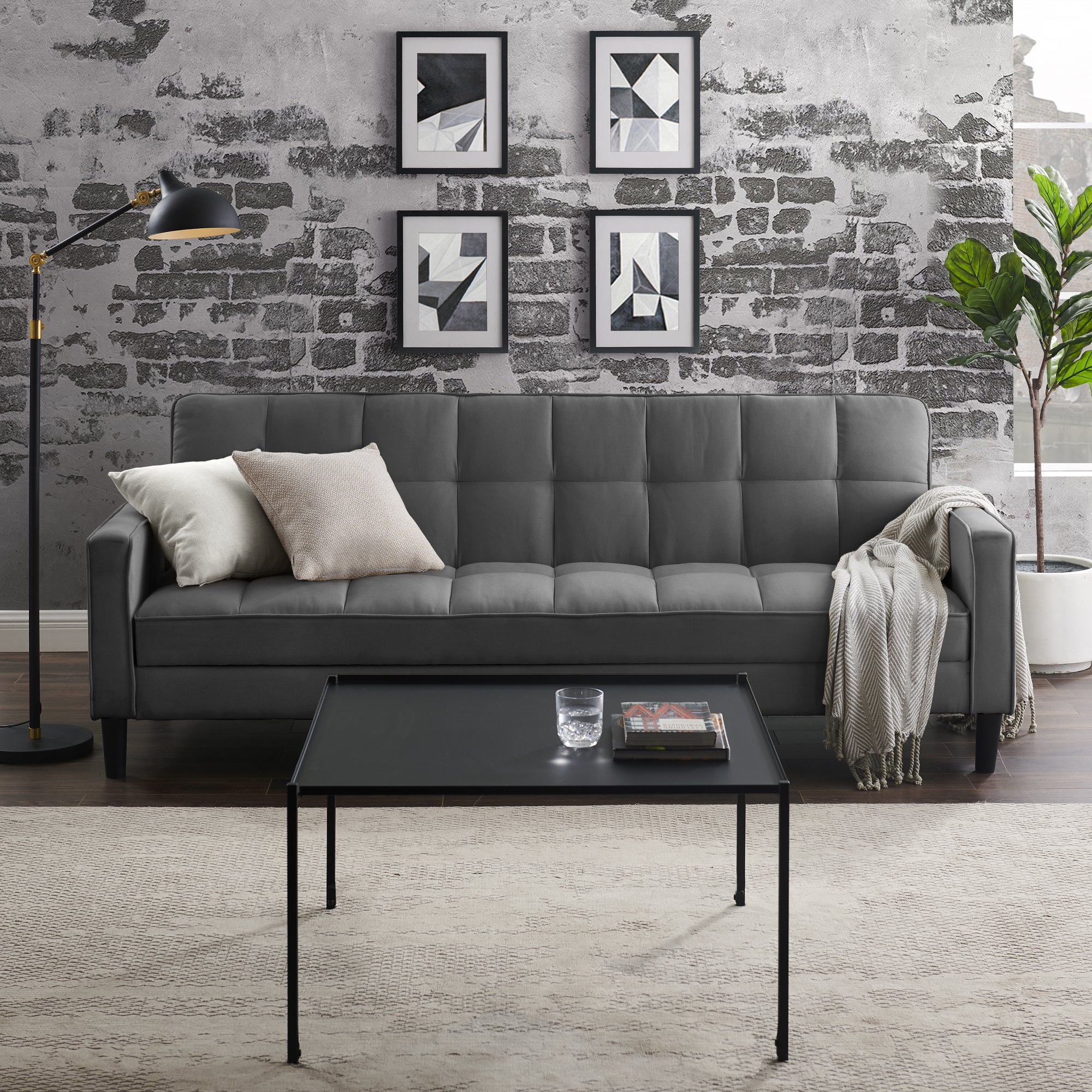 Loft Lyfe Charcoal Linen Sofa Bed Convertible Tufted
