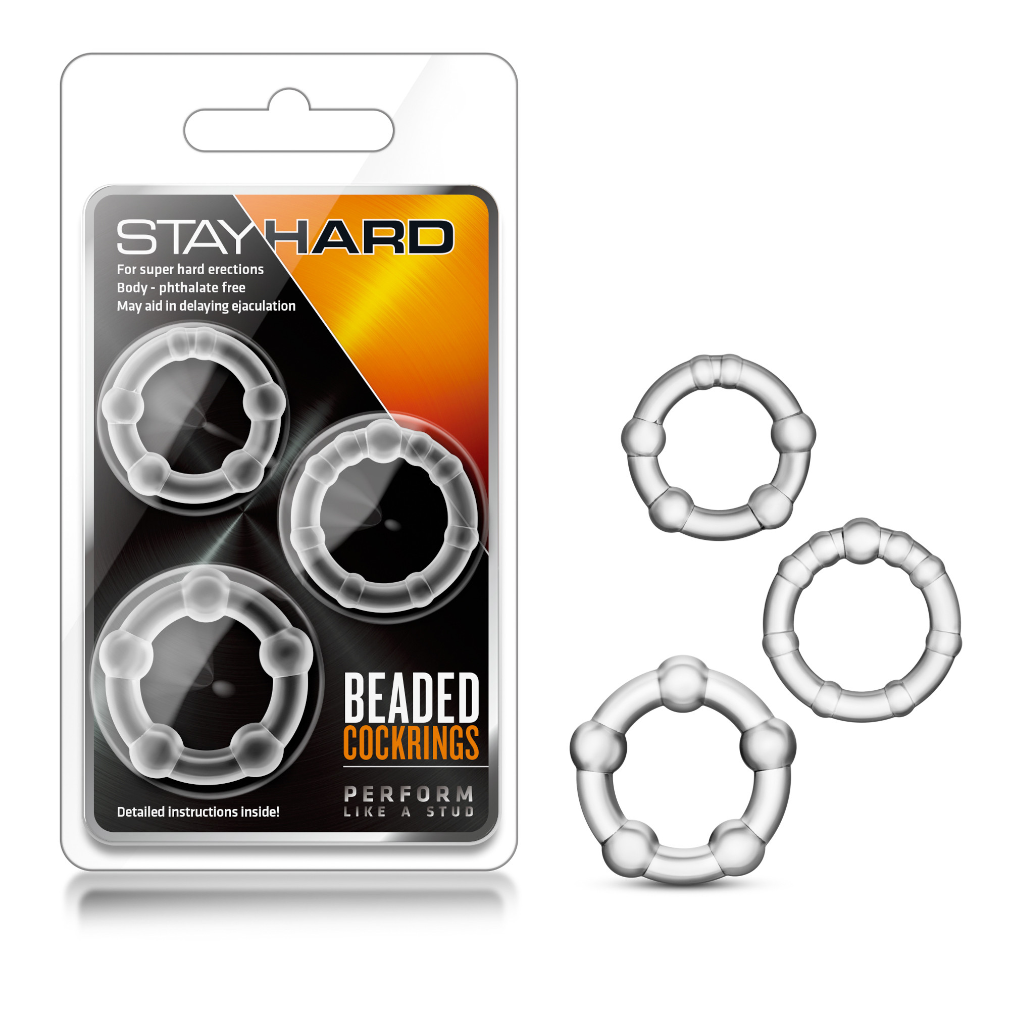 Stay Hard - Beaded Cockrings - Clear