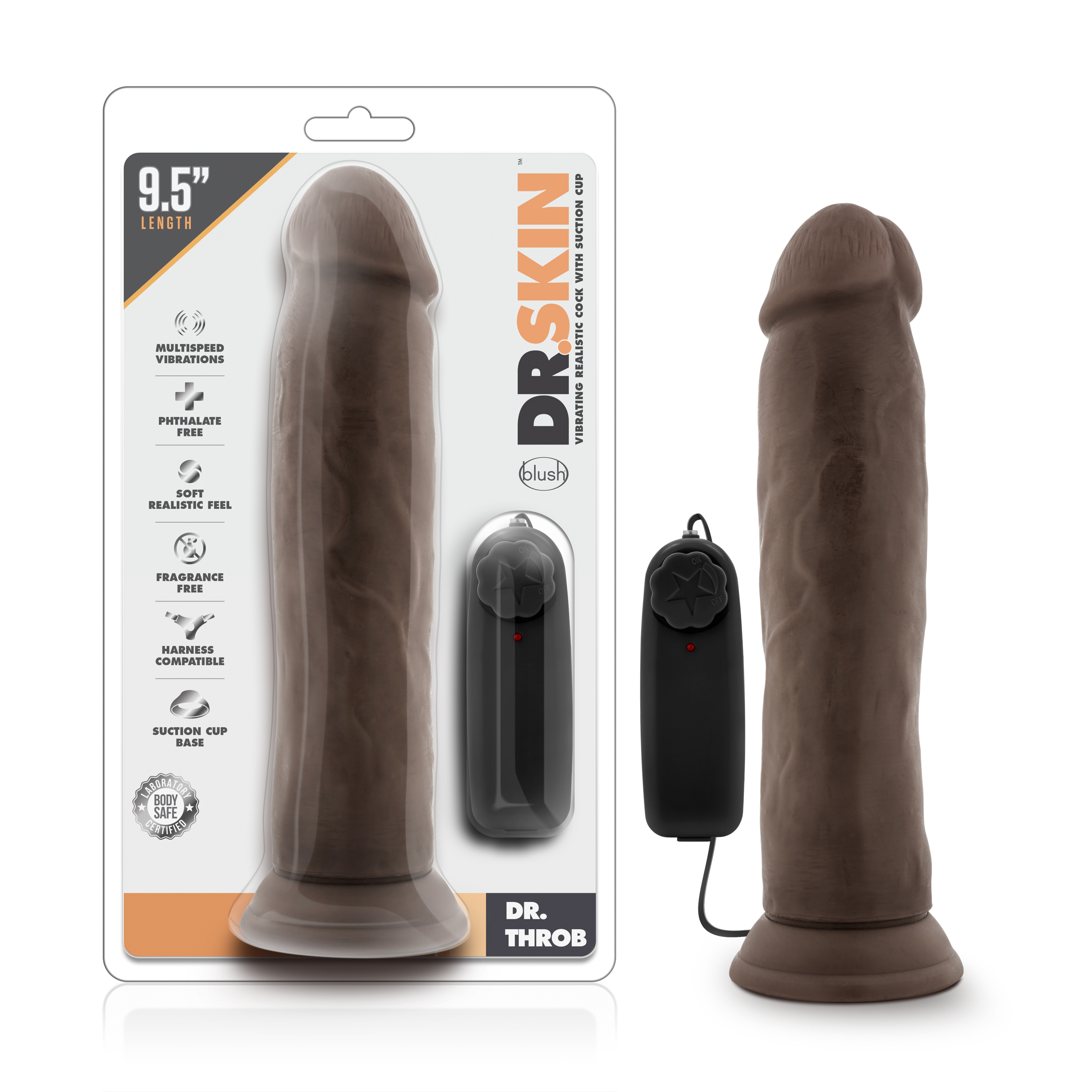 Dr. Skin - Dr. Throb - 9.5 Inch Vibrating Realistic Cock with Suction Cup - Chocolate