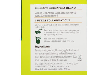 Green Tea with  Wild Blueberry Acai Decaf - Case of 6 boxes- total of 120 teabags