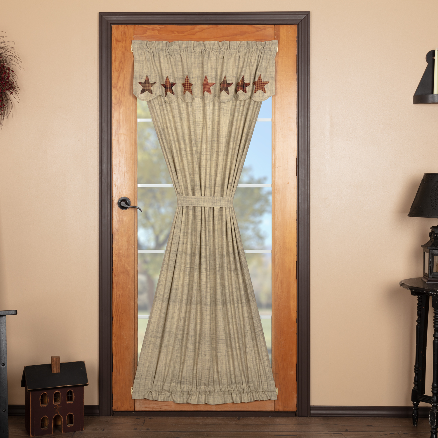 Abilene Star Door Panel with Attached Valance 72x42