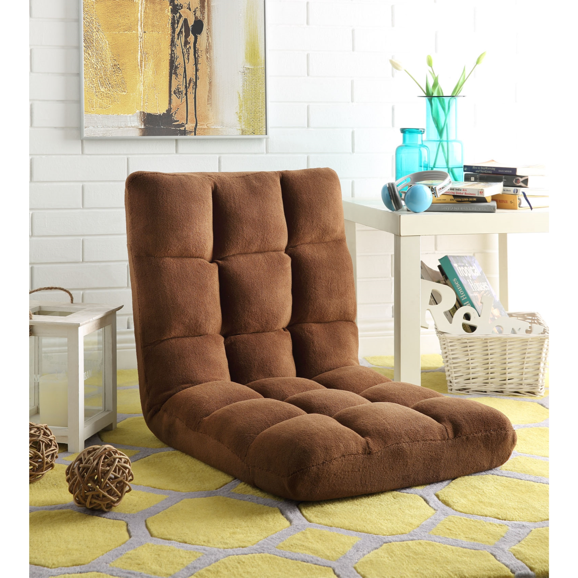 Loungie Brown Microplush Chair Foam Filling Steel Tube Frame